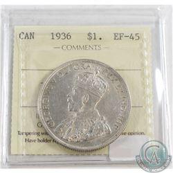 1936 Canada Silver Dollar ICCS Certified EF-45