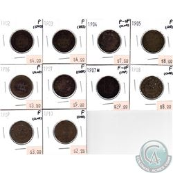 Estate Lot of 10x Canada Large Cents 1902-1910 In Fine or Better Condition (coins have Various impai