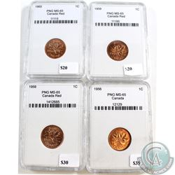 1956, 1958, 1959 & 1960 Canada 1-cent PNG Certified MS-65. 4pcs