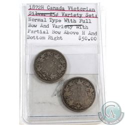 "1872H Canada Victorian Silver 25-cent Variety Set: Normal type with Full Bow & Partial Bow above ""H"""