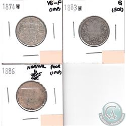 "1874H, 1883H, 1886 Normal ""6"" Obverse 5 Canada 25-cent Coins (coins have Various impairments). 3pcs"