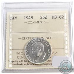 1948 Canada 25-cent ICCS Certified MS-62