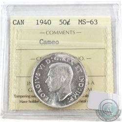 1940 Canada 50-cent ICCS Certified MS-63; Cameo
