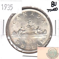 1935 Canada Silver Dollar Brilliant Uncirculated (toned)