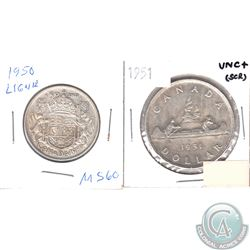 1950 50-cent & 1951 Canada Silver Dollar. 2pcs