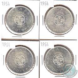4x 1964 Canada Silver Dollars. 4pcs
