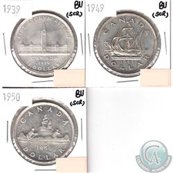 1939, 1949 & 1950 Canada Silver Brilliant Uncirculated (scratched). 3pcs