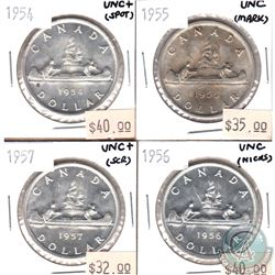 1954, 1955, 1956 & 1957 Silver Dollar UNC (coins have Various minor scratches or cleaned). 4pcs