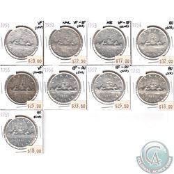 1951-1961 Canada Silver Dollars (coins have minor various impairments ) 9pcs