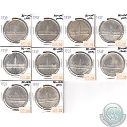 10x 1939 Canada Silver Dollar Commemorative Parliament Buildings AU-UNC (Impaired)