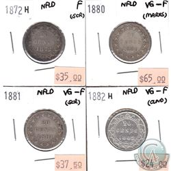 Newfoundland 20-cent 1872H, 1880, 1881 & 1882H VG-10 to Fine (coins have minor various impairments).