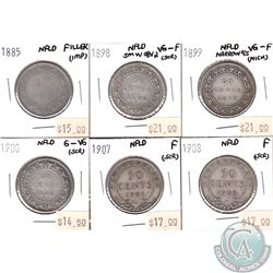 Lot of 6x Newfoundland 50-cent 1885, 1898 Sm W Obv 2, 1899 Narrow 9's, 1900, 1907 & 1908 in Filler t