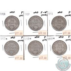 Lot of 6x Newfoundland 50-cent 1908, 1909, 1911, 1917C, 1918C & 1919C in Fine to F-15 (some coins ha