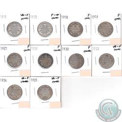 25-cent 1911-1935. You will receive 1911 VG-F, 1913 F-VF, 1918 F, 1919 F, 1927 F, 1929 F, 1930 F, 19