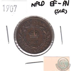 1907 Newfoundland 1-cent EF-AU (some scratches)