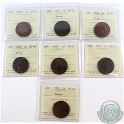 1-cent 1890H ICCS Certified EF-40, 1893 MS-60 Brown, 1894 Thick 4 EF-40, 1896 MS-60 Brown, 1899 AU-5