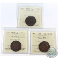 1-cent 1858 ICCS Certified F-15, 1859 Wide 9/8 VF-30 & 1859 DP N9 #2 G-6. 3pcs