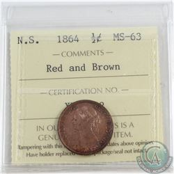 1/2-cent Nova Scotia 1864 ICCS Certified MS-63 Red and Brown