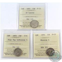 10-cent 1891 22 Leaves ICCS Certified F-12, 1893 Flat Top 3 Obverse 5 G-6 & 1894 Obverse 6 F-15. 3pc