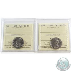 5-cent 1927 & 1931 ICCS Certified AU-55. 2pcs.