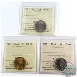 5-cent 1937, 1943, 1946 ICCS Certified MS-64. 3pcs.
