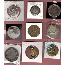 Lot of 9 Sports Medallions/Badges (5 are Silver): 2nd Relay 1919/D.Coy J. Anderson 5th Cameron Hrs.;