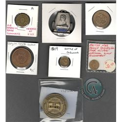 Lot of 7 Medals/Tokens/Badge (including a Canadian Error Token): Error Token – die break in Base Com