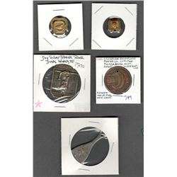 Lot of 5 Tokens, Medals, Badges: Canadian Johnson Motor Co. Limited Peterborough Ontario Modernized
