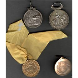 Lot of 4 Medals/pendants: Hunting & Field Archers of Ontario Club Team 1950 with yellow ribbon; 1862
