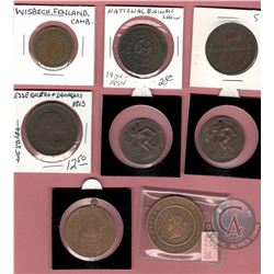 Lot of 8 Medallions/Tokens: 1857 Pawnbroker Token; 1904-1954 National Business Show Medallion; Wisbe