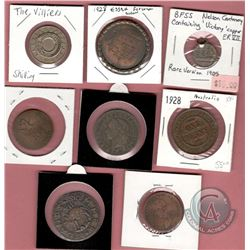 "Lot of 8 UK/British Commonwealth Medals, Medallions, Tokens: Sommer Islands XII Hog Penny Pub ""Good"