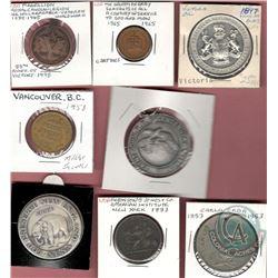 Lot of 8 Medallions, Medals, Tokens: 1897 Victoria BC Hon. E. Dewney Lieut. Governor; 1865-1965 Cana