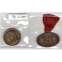 Lot of 2 Medals:  Franklin - Montyon bronze Medal, 1833, issued by the Montyon and Franklin Society