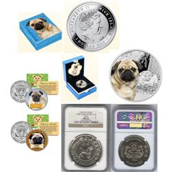 "Pug Lot of 28: 2015 Niue Island/New Zealand $1 FV Coloured Proof Coin .925 Sterling Silver ""Mops Pug"