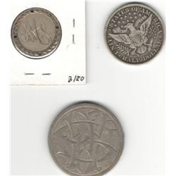 Lot of 3 US Love Tokens: 1909 Half Dollar - engraved on neck on obverse; 1877 4-holed quarter with i