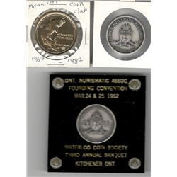 Numismatic Club Lot of 3: 1964 Ottawa Coin Club/ONA Silver Medal (Sterling Silver printed on edge);