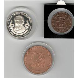 Numismatic Club Lot of 3: 1980 Silver Medal, Florida United Numismatists (FUN) 25th Anniversary; 2.I
