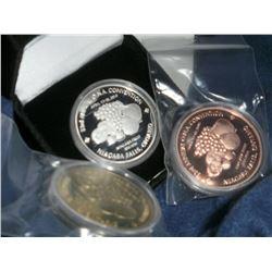 Numismatic Club Lot of 3: ONA 2015/Niagara Medals - Silver, Copper, and Bronze. 3pcs