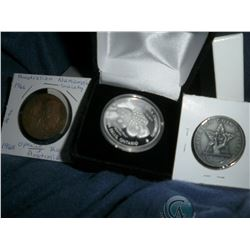 Numismatic Club Lot of 3: ONA 2015/Niagara Medal .999 Fine Silver; 1966 Australian Numismatic Socie