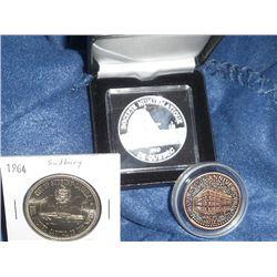 Numismatic Club Lot of 3: 1960-2010 Societe Numismatique De Quebec Silver Medal; 1964 Canadian Cent