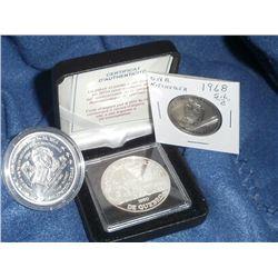 Numismatic Club Lot of 3: 1960-2010 Societe Numismatique De Quebec Silver Medal; 1968 ONA Silver Er