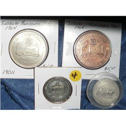Numismatic Club Lot of 4: 1971 Waterloo Coin Society/Horse and Buggy Silver Medal; 1972 Waterloo Co