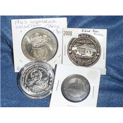 Numismatic Club Lot of 4: 1972 Waterloo Coin Society/Kitchener City Hall Silver Medal; 1956-2008 ONA