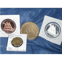 Numismatic Club Lot of 4: 2x 2015 RCNA/Halifax Medals (one is Silver); 1962 First meeting Token & Me