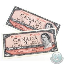 Pair of 1954 $2.00 Notes with Beattie-Coyne Signatures and Consecutive Serial Numbers. 2pcs.