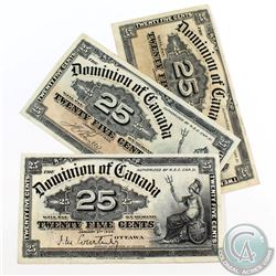 Complete Signature Type Set of the 1900 25c Note. Included are three 1900 25c pieces, one of each Si