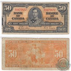 1937 $50.00 Note in Fine. The note has holes and adhesive damage.