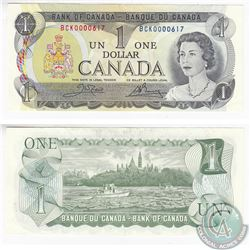 1973 $1.00 Note with Low Serial Number BCK0000617 in EF-AU.
