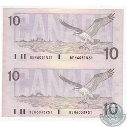 Uncut pair of 1989 $10.00 Notes in UNC.