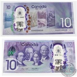 2017 $10 3 digit RADAR/4 cycle REPEATER Banknote in UNC.